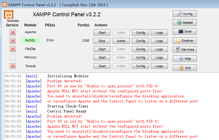 Xampp error出错信息:Port 80 in use by