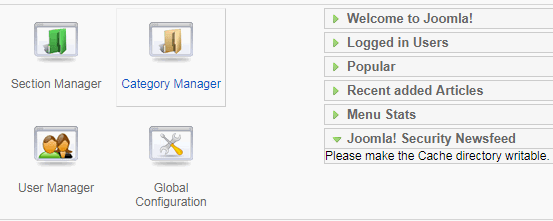 Joomla 出错信息的解决办法:Please make the Cache directory writable.
