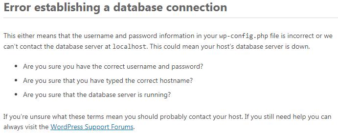 因磁盘满引起wordpress提示Error establishing a database connection的处理办法